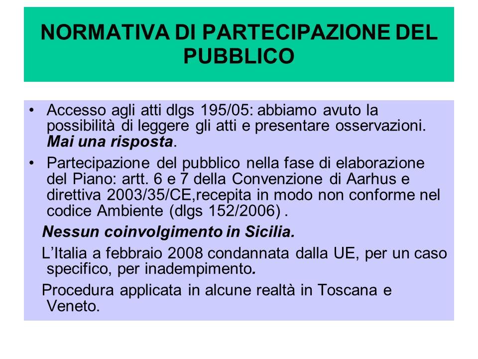 NORMATIVA DI PARTECIPAZIONE DEL PUBBLICO Accesso agli atti dlgs 195/05: abbiamo avuto la possibilità di leggere gli atti e presentare osservazioni. Ma
