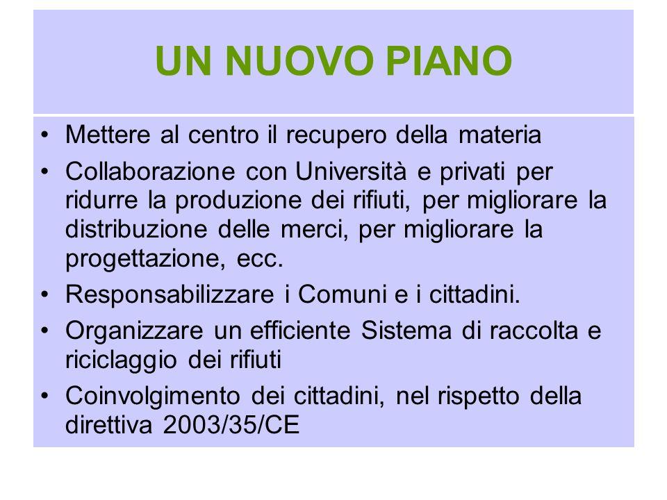UN NUOVO PIANO Mettere al centro il recupero della materia Collaborazione con Università e privati per ridurre la produzione dei rifiuti, per migliora
