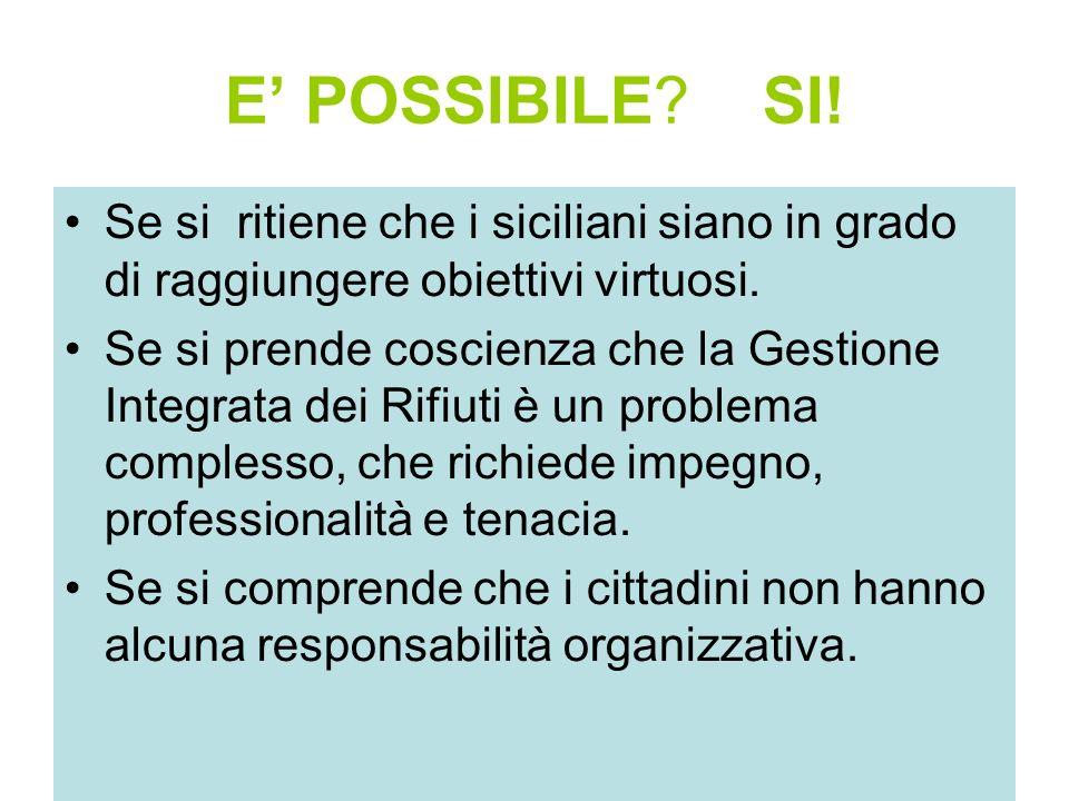 E POSSIBILE? SI! Se si ritiene che i siciliani siano in grado di raggiungere obiettivi virtuosi. Se si prende coscienza che la Gestione Integrata dei