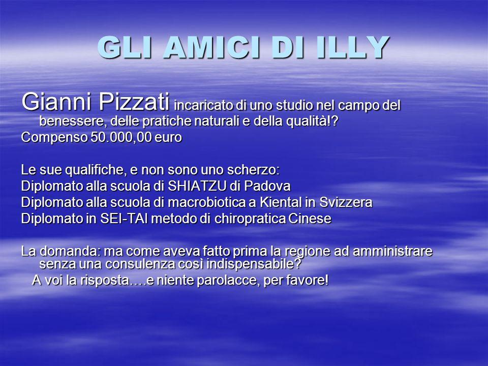 GLI AMICI DI ILLY Gianni Pizzati incaricato di uno studio nel campo del benessere, delle pratiche naturali e della qualità!? Compenso 50.000,00 euro L