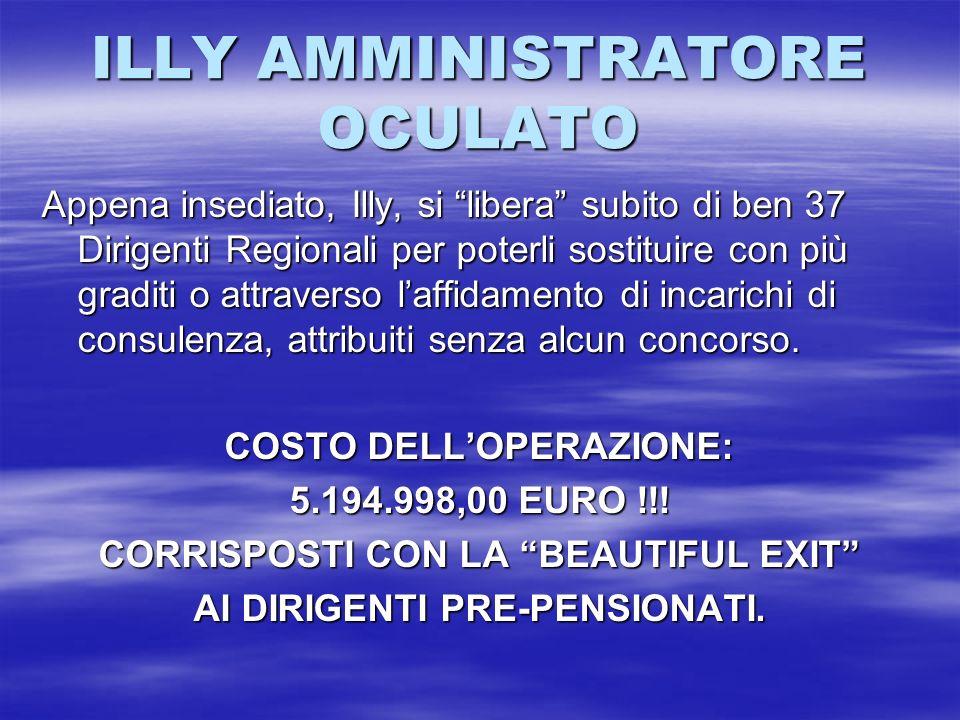 ILLY AMMINISTRATORE OCULATO Appena insediato, Illy, si libera subito di ben 37 Dirigenti Regionali per poterli sostituire con più graditi o attraverso