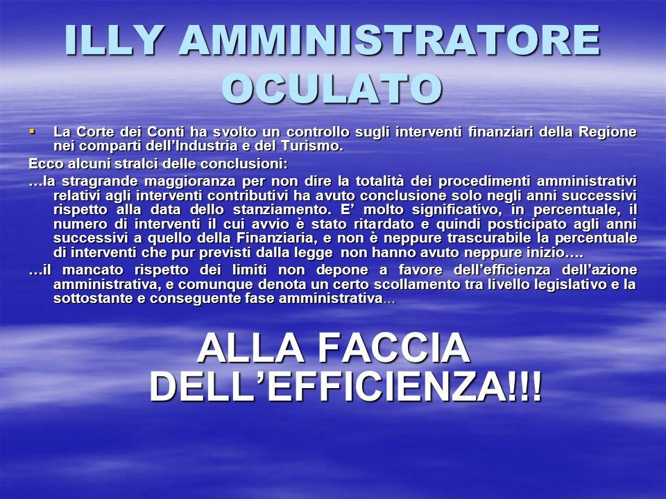 ILLY AMMINISTRATORE OCULATO La Corte dei Conti ha svolto un controllo sugli interventi finanziari della Regione nei comparti dellIndustria e del Turis