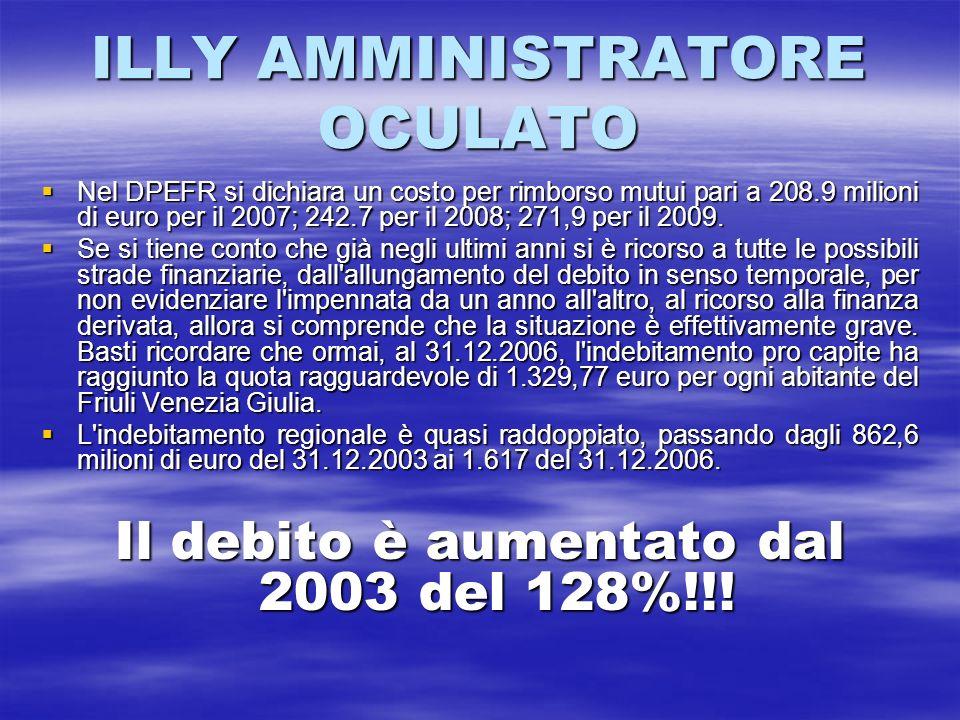 ILLY AMMINISTRATORE OCULATO Nel DPEFR si dichiara un costo per rimborso mutui pari a 208.9 milioni di euro per il 2007; 242.7 per il 2008; 271,9 per i