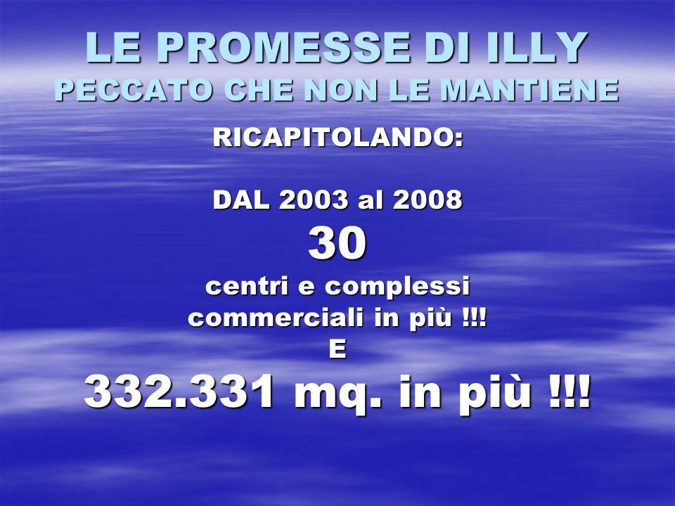 LE PROMESSE DI ILLY PECCATO CHE NON LE MANTIENE RICAPITOLANDO: DAL 2003 al 2008 30 centri e complessi commerciali in più !!! E 332.331 mq. in più !!!