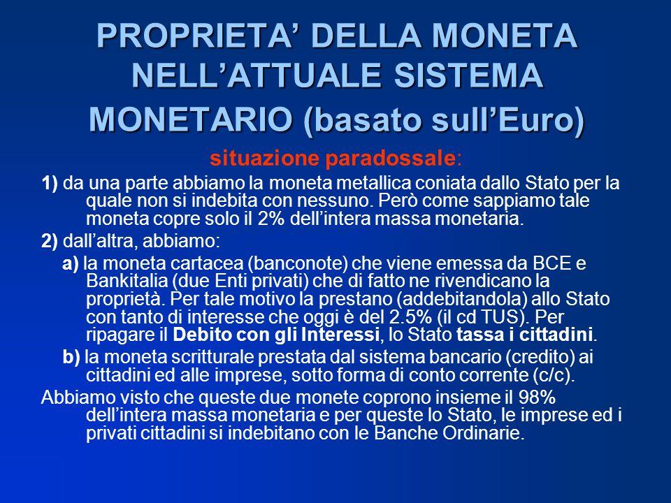 PROPRIETA DELLA MONETA NELLATTUALE SISTEMA MONETARIO (basato sullEuro) situazione paradossale: 1) da una parte abbiamo la moneta metallica coniata dal