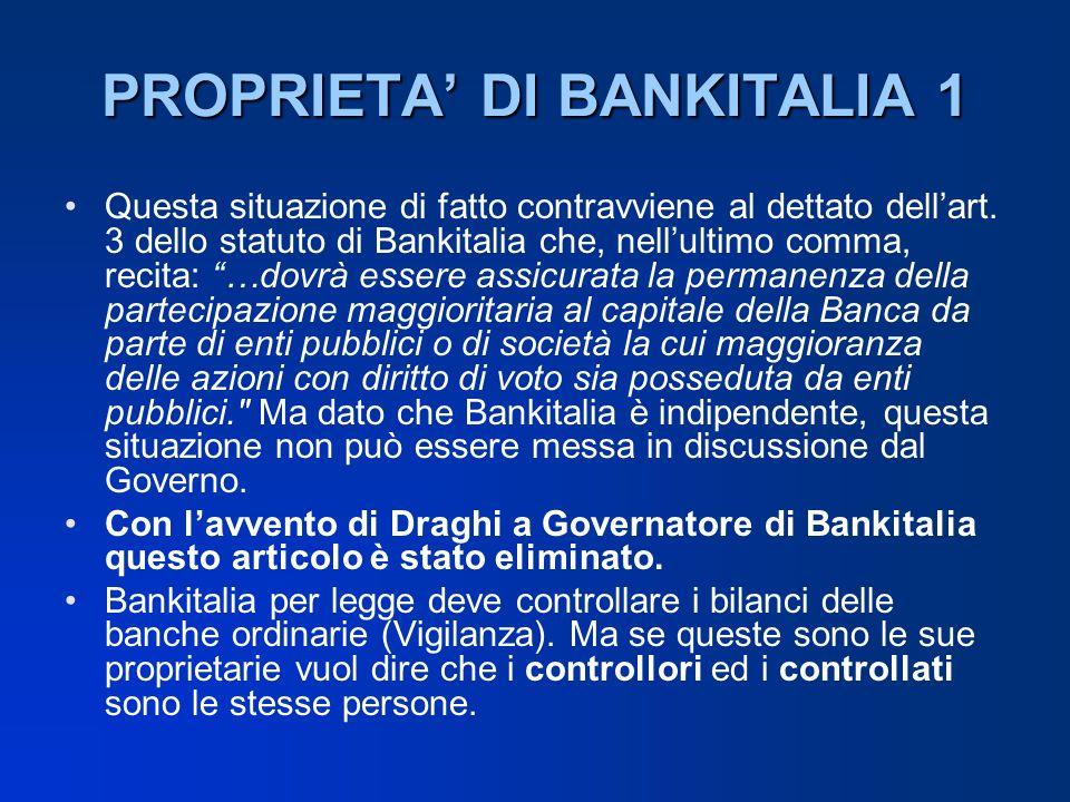 PROPRIETA DI BANKITALIA 1 Questa situazione di fatto contravviene al dettato dellart. 3 dello statuto di Bankitalia che, nellultimo comma, recita: …do