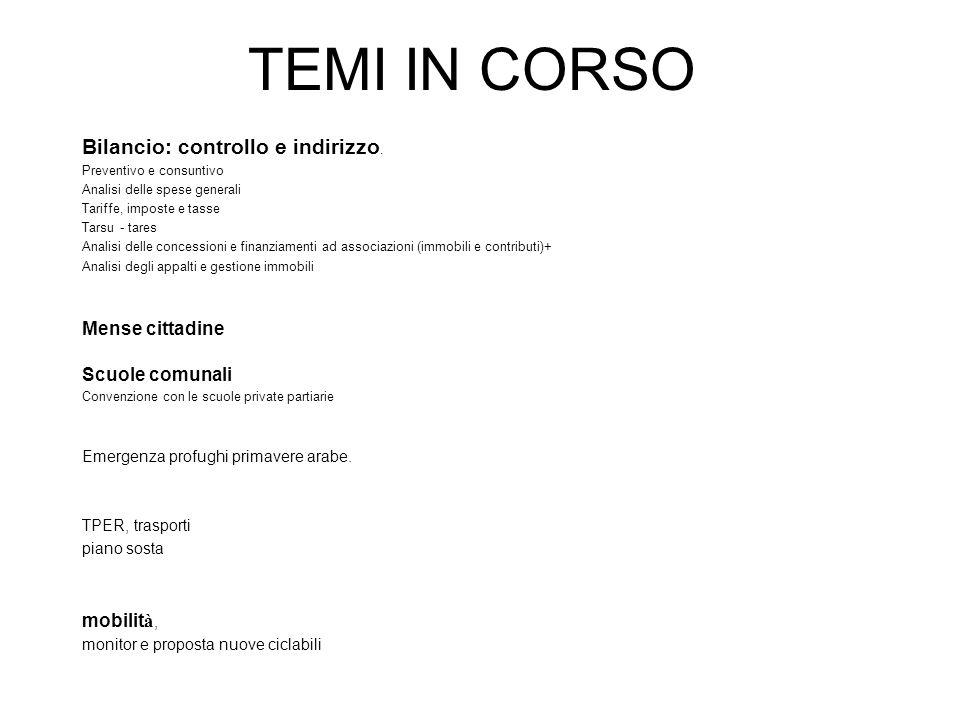 TEMI IN CORSO Bilancio: controllo e indirizzo.