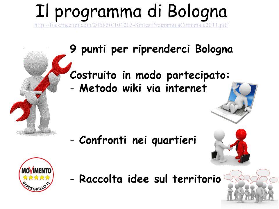 Il programma di Bologna http://files.meetup.com/206830/101205-SintesiProgrammaComunale2011.pdf http://files.meetup.com/206830/101205-SintesiProgrammaComunale2011.pdf 9 punti per riprenderci Bologna Costruito in modo partecipato: - Metodo wiki via internet - Confronti nei quartieri - Raccolta idee sul territorio