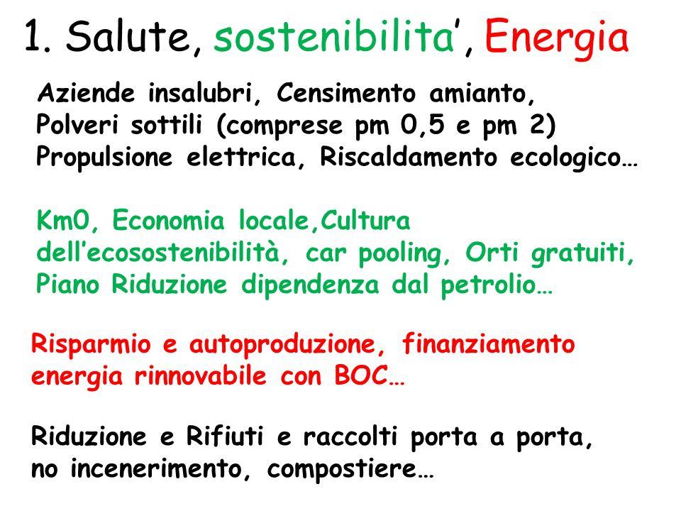 1. Salute, sostenibilita, Energia Aziende insalubri, Censimento amianto, Polveri sottili (comprese pm 0,5 e pm 2) Propulsione elettrica, Riscaldamento