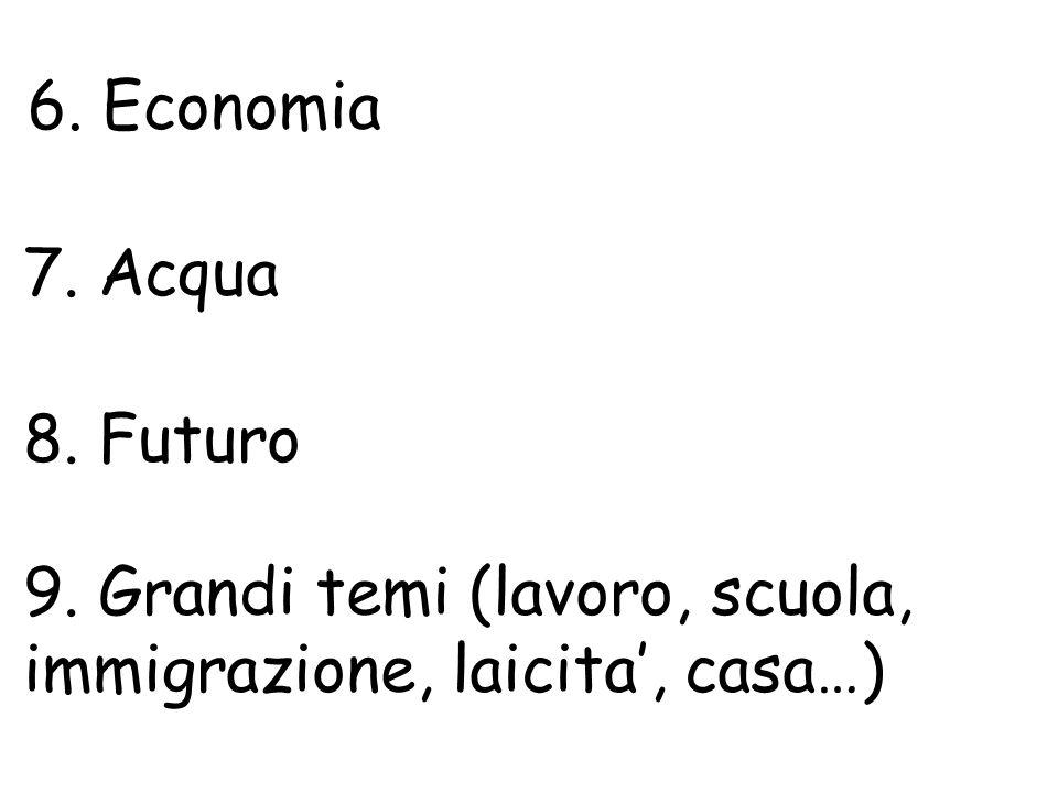 6. Economia 7. Acqua 8. Futuro 9. Grandi temi (lavoro, scuola, immigrazione, laicita, casa…)