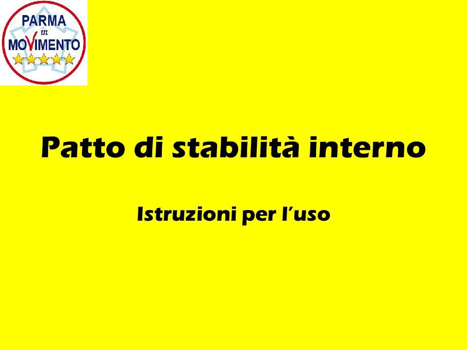 Patto di stabilità interno Istruzioni per luso