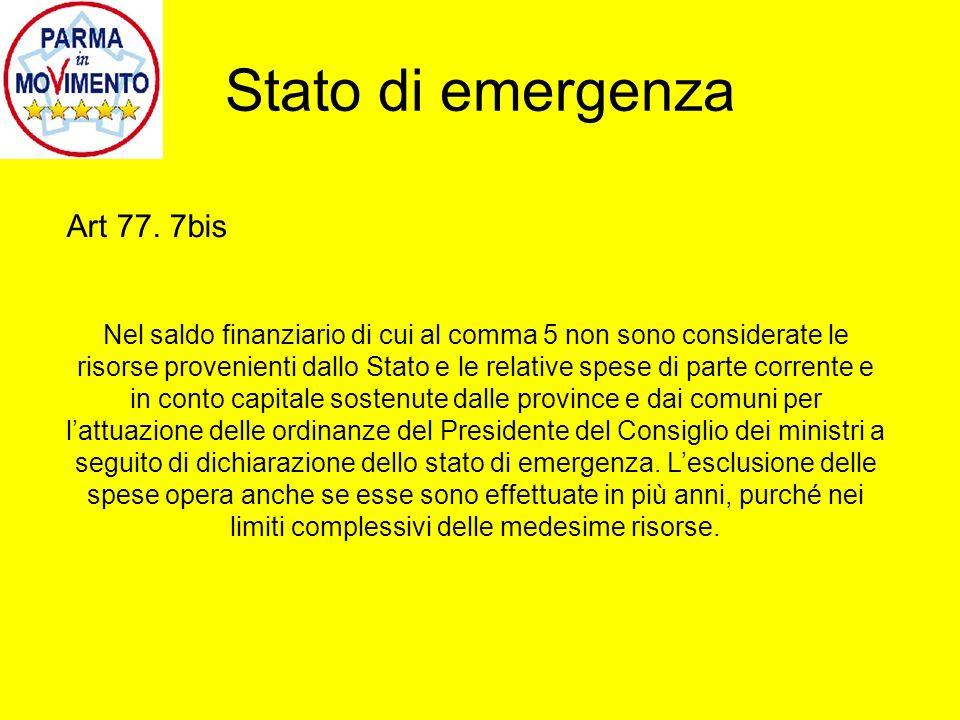 Stato di emergenza Art 77.