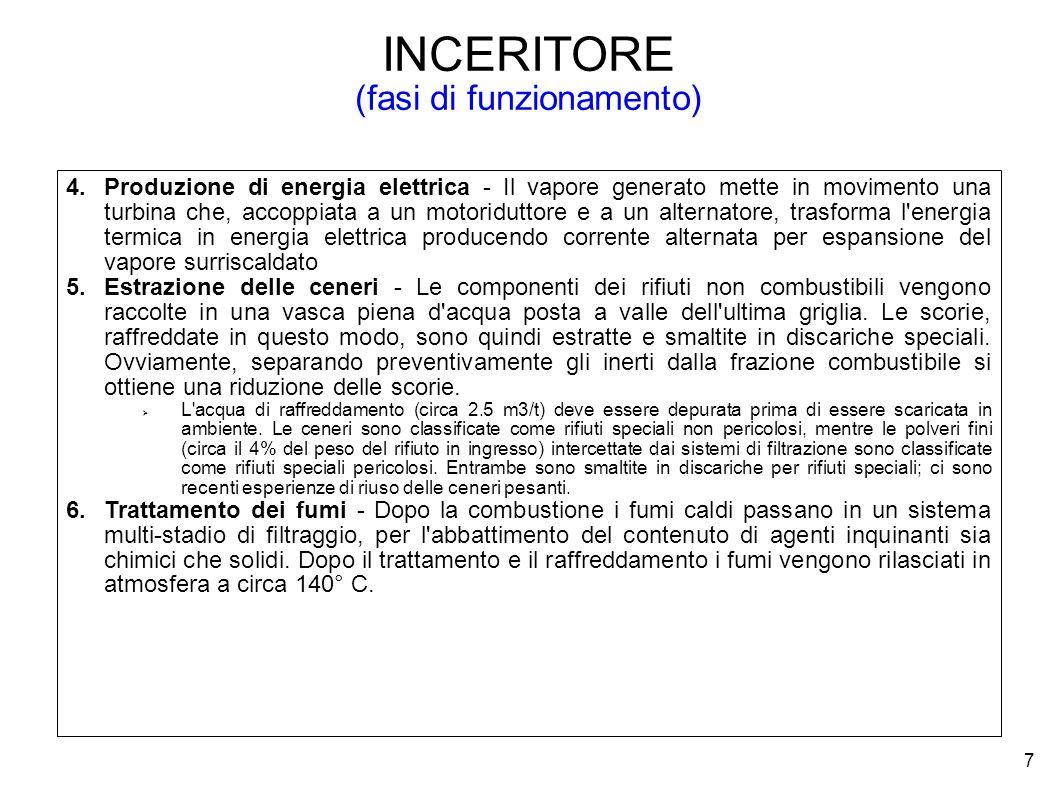 7 INCERITORE (fasi di funzionamento) 4.Produzione di energia elettrica - Il vapore generato mette in movimento una turbina che, accoppiata a un motori