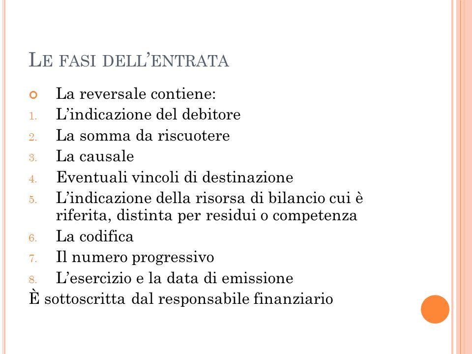 L E FASI DELL ENTRATA La reversale contiene: 1. Lindicazione del debitore 2. La somma da riscuotere 3. La causale 4. Eventuali vincoli di destinazione