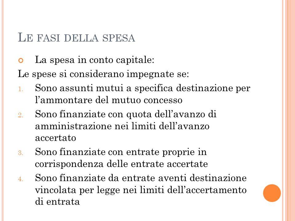 L E FASI DELLA SPESA La spesa in conto capitale: Le spese si considerano impegnate se: 1. Sono assunti mutui a specifica destinazione per lammontare d