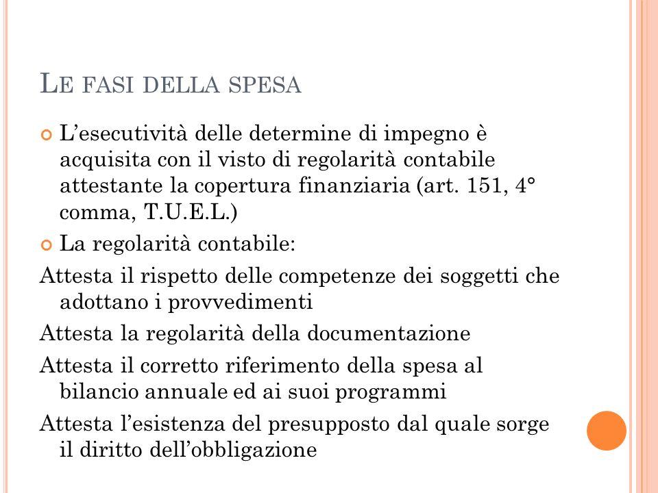 L E FASI DELLA SPESA Lesecutività delle determine di impegno è acquisita con il visto di regolarità contabile attestante la copertura finanziaria (art.
