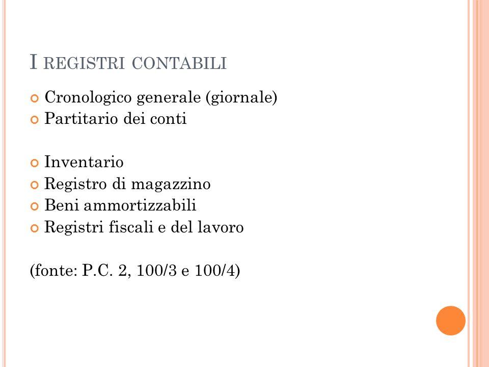 I REGISTRI CONTABILI Cronologico generale (giornale) Partitario dei conti Inventario Registro di magazzino Beni ammortizzabili Registri fiscali e del lavoro (fonte: P.C.