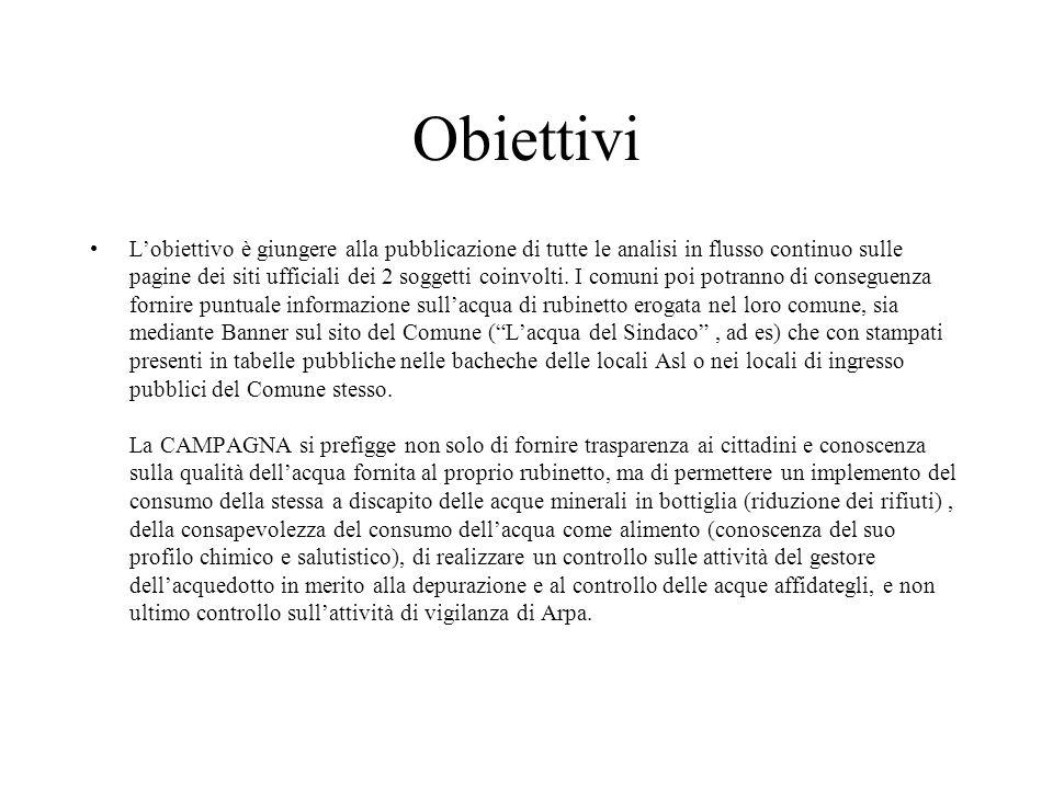 Obiettivi Lobiettivo è giungere alla pubblicazione di tutte le analisi in flusso continuo sulle pagine dei siti ufficiali dei 2 soggetti coinvolti.