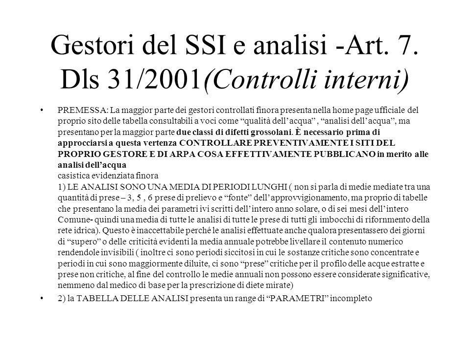Gestori del SSI e analisi -Art. 7.