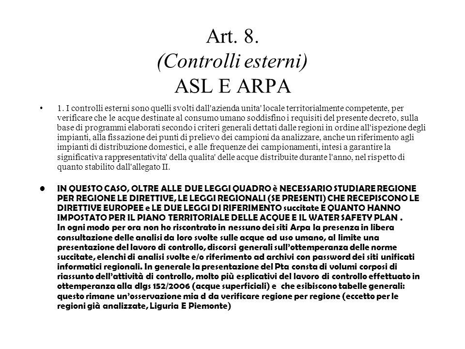 Art. 8. (Controlli esterni) ASL E ARPA 1.