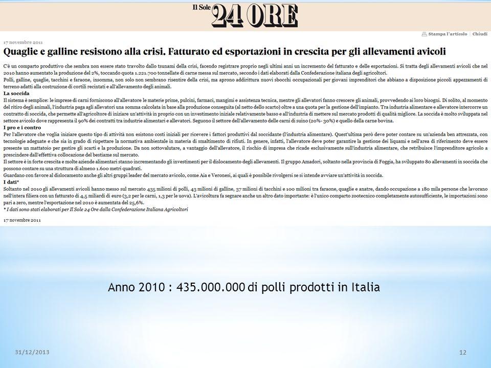 31/12/2013 12 Anno 2010 : 435.000.000 di polli prodotti in Italia