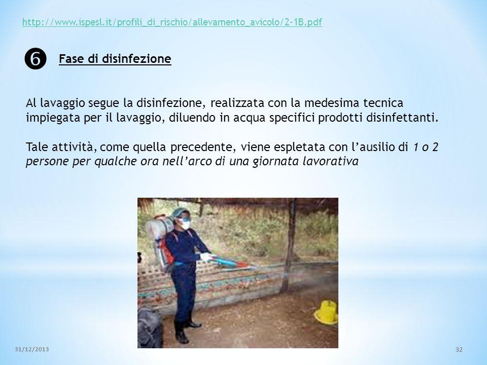 http://www.ispesl.it/profili_di_rischio/allevamento_avicolo/2-1B.pdf Al lavaggio segue la disinfezione, realizzata con la medesima tecnica impiegata p