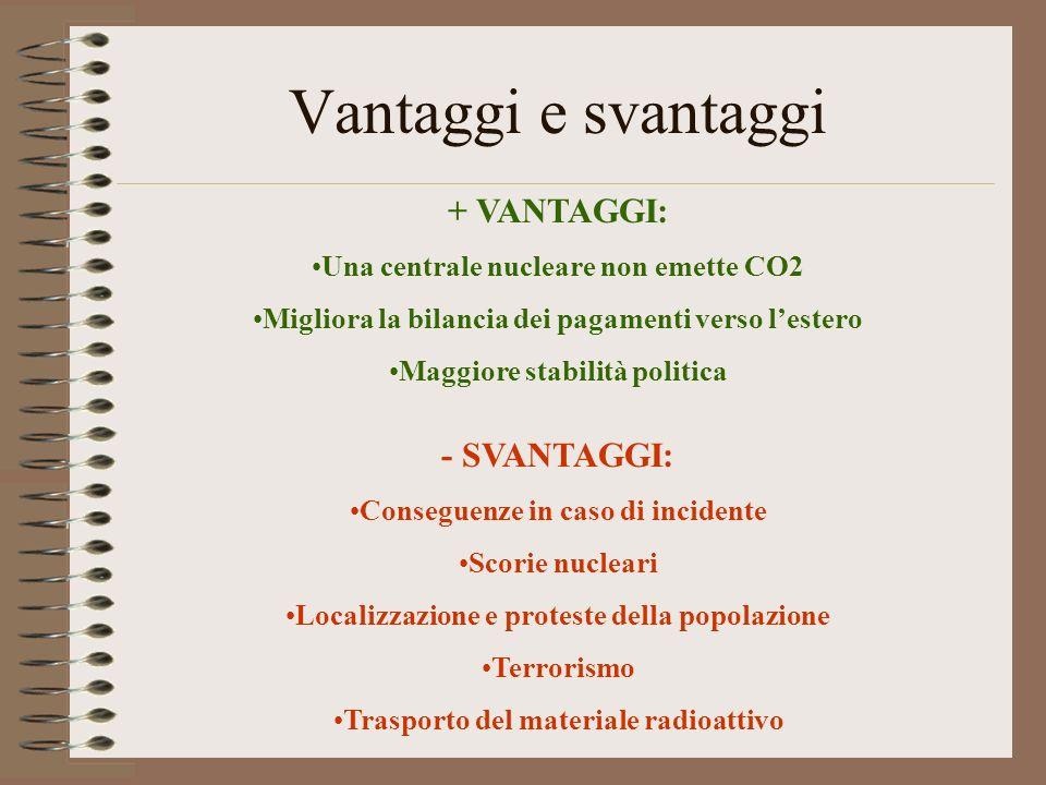Vantaggi e svantaggi + VANTAGGI: Una centrale nucleare non emette CO2 Migliora la bilancia dei pagamenti verso lestero Maggiore stabilità politica - S