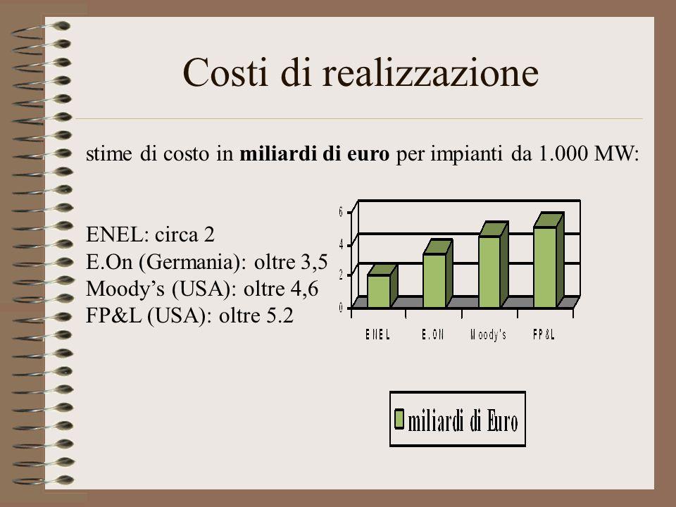 Costi di realizzazione stime di costo in miliardi di euro per impianti da 1.000 MW: ENEL: circa 2 E.On (Germania): oltre 3,5 Moodys (USA): oltre 4,6 F