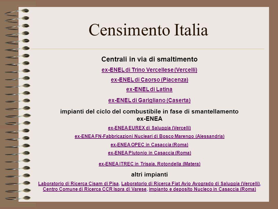Censimento Italia Centrali in via di smaltimento ex-ENEL di Trino Vercellese (Vercelli) ex-ENEL di Caorso (Piacenza) ex-ENEL di Latina ex-ENEL di Gari
