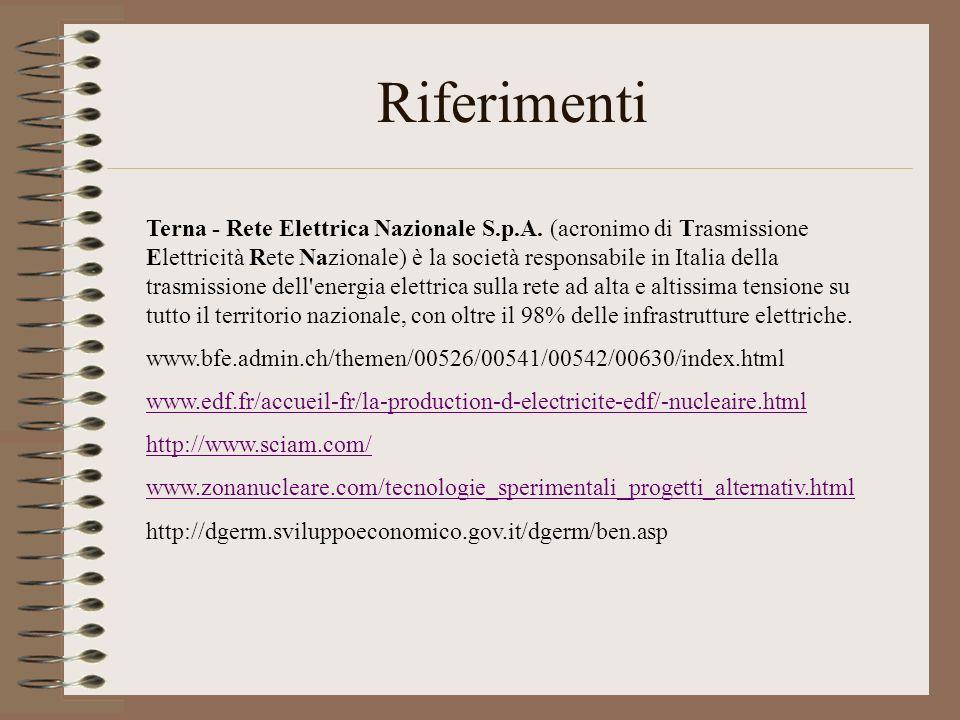 Riferimenti Terna - Rete Elettrica Nazionale S.p.A. (acronimo di Trasmissione Elettricità Rete Nazionale) è la società responsabile in Italia della tr