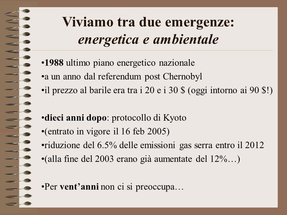 1988 ultimo piano energetico nazionale a un anno dal referendum post Chernobyl il prezzo al barile era tra i 20 e i 30 $ (oggi intorno ai 90 $!) dieci