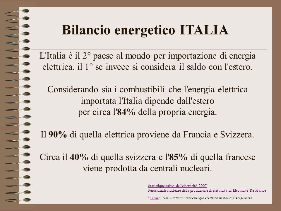 L'Italia è il 2° paese al mondo per importazione di energia elettrica, il 1° se invece si considera il saldo con l'estero. Considerando sia i combusti