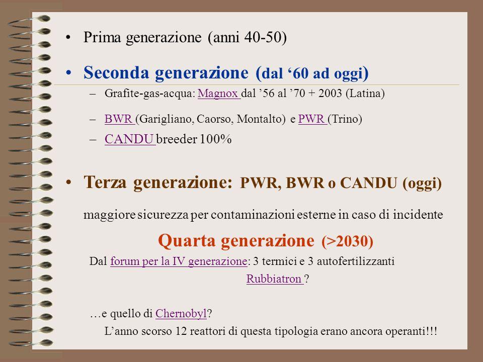 Prima generazione (anni 40-50) Seconda generazione ( dal 60 ad oggi ) –Grafite-gas-acqua: Magnox dal 56 al 70 + 2003 (Latina)Magnox –BWR (Garigliano,