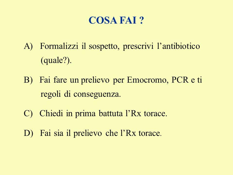 A) Formalizzi il sospetto, prescrivi lantibiotico (quale?). B) Fai fare un prelievo per Emocromo, PCR e ti regoli di conseguenza. C) Chiedi in prima b