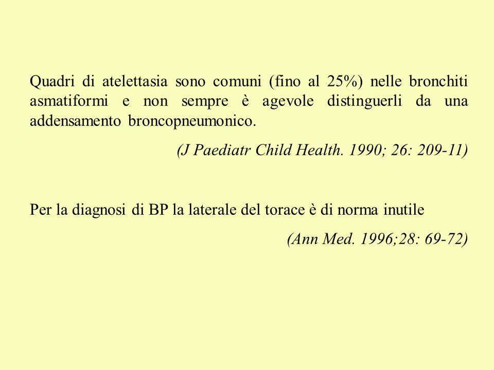 Quadri di atelettasia sono comuni (fino al 25%) nelle bronchiti asmatiformi e non sempre è agevole distinguerli da una addensamento broncopneumonico.
