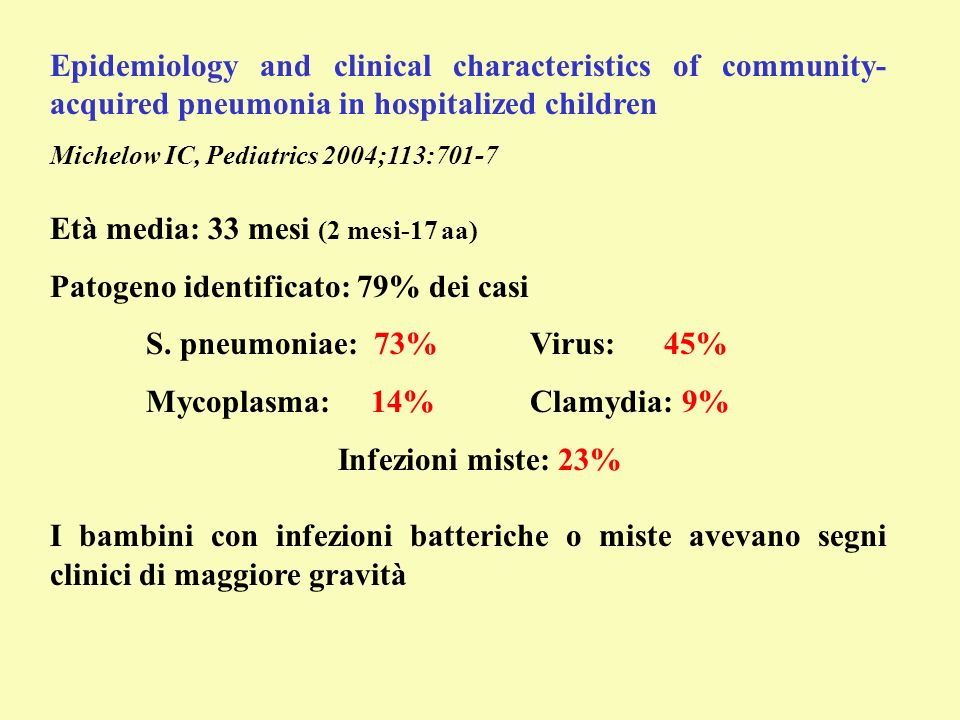 Epidemiology and clinical characteristics of community- acquired pneumonia in hospitalized children Michelow IC, Pediatrics 2004;113:701-7 Età media: