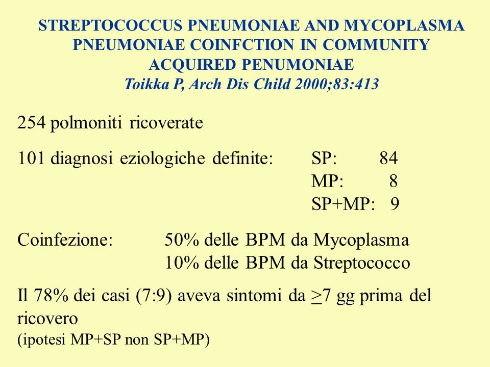STREPTOCOCCUS PNEUMONIAE AND MYCOPLASMA PNEUMONIAE COINFCTION IN COMMUNITY ACQUIRED PENUMONIAE Toikka P, Arch Dis Child 2000;83:413 254 polmoniti rico