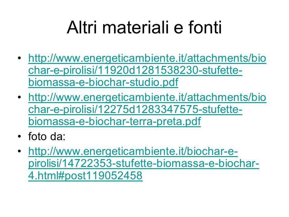 Altri materiali e fonti http://www.energeticambiente.it/attachments/bio char-e-pirolisi/11920d1281538230-stufette- biomassa-e-biochar-studio.pdfhttp:/