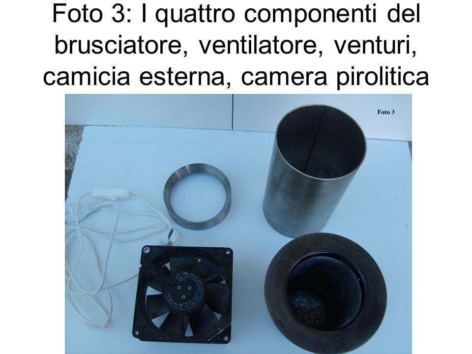 Foto 3: I quattro componenti del brusciatore, ventilatore, venturi, camicia esterna, camera pirolitica