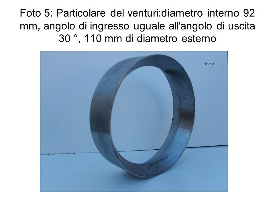 Foto 5: Particolare del venturi:diametro interno 92 mm, angolo di ingresso uguale all'angolo di uscita 30 °, 110 mm di diametro esterno