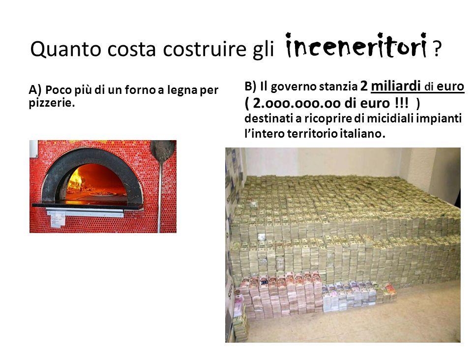 Quanto costa costruire gli inceneritori . A) Poco più di un forno a legna per pizzerie.