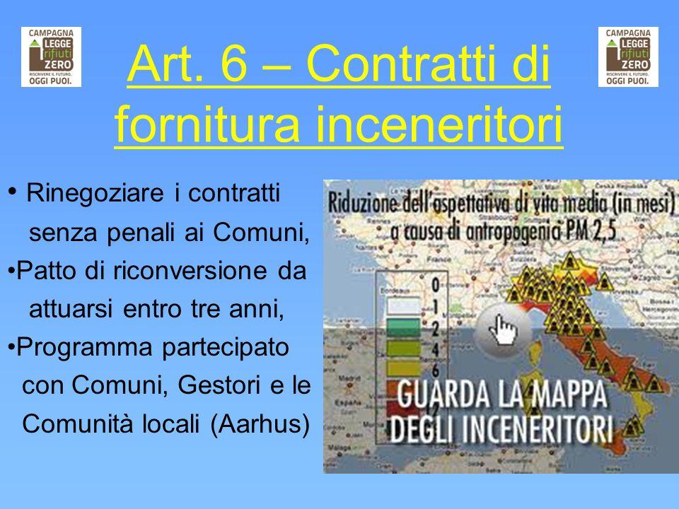 Art. 6 – Contratti di fornitura inceneritori Rinegoziare i contratti senza penali ai Comuni, Patto di riconversione da attuarsi entro tre anni, Progra