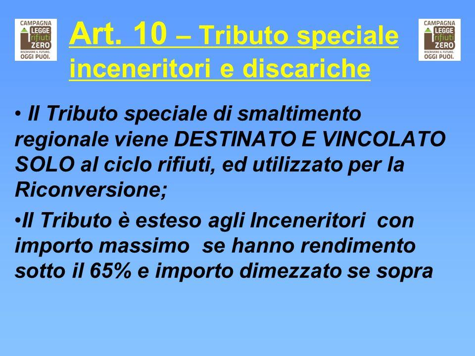 Art. 10 – Tributo speciale inceneritori e discariche Il Tributo speciale di smaltimento regionale viene DESTINATO E VINCOLATO SOLO al ciclo rifiuti, e