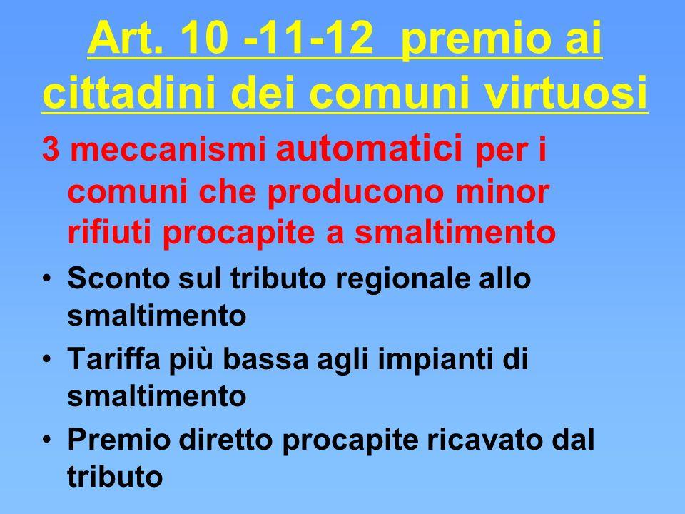 Art. 10 -11-12 premio ai cittadini dei comuni virtuosi 3 meccanismi automatici per i comuni che producono minor rifiuti procapite a smaltimento Sconto