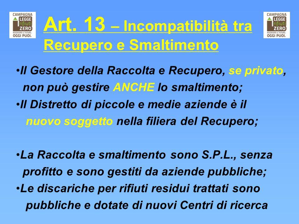 Art. 13 – Incompatibilità tra Recupero e Smaltimento Il Gestore della Raccolta e Recupero, se privato, non può gestire ANCHE lo smaltimento; Il Distre