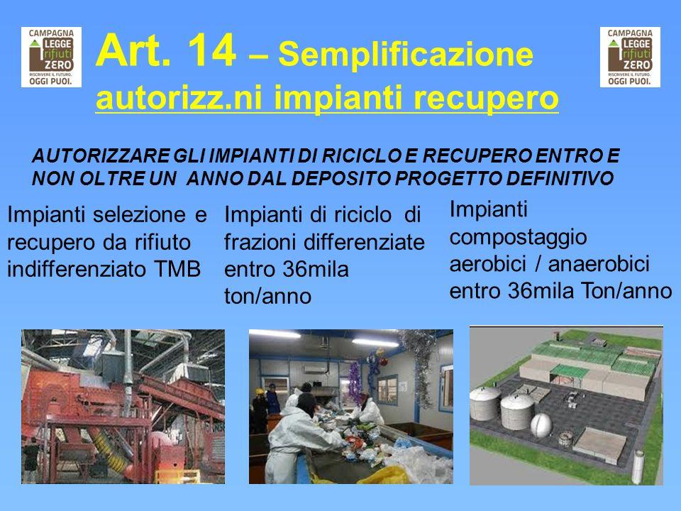 Art. 14 – Semplificazione autorizz.ni impianti recupero AUTORIZZARE GLI IMPIANTI DI RICICLO E RECUPERO ENTRO E NON OLTRE UN ANNO DAL DEPOSITO PROGETTO