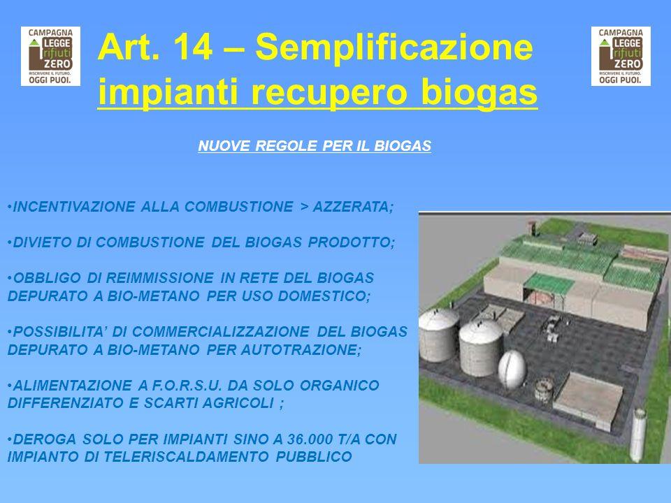 NUOVE REGOLE PER IL BIOGAS Art. 14 – Semplificazione impianti recupero biogas INCENTIVAZIONE ALLA COMBUSTIONE > AZZERATA; DIVIETO DI COMBUSTIONE DEL B