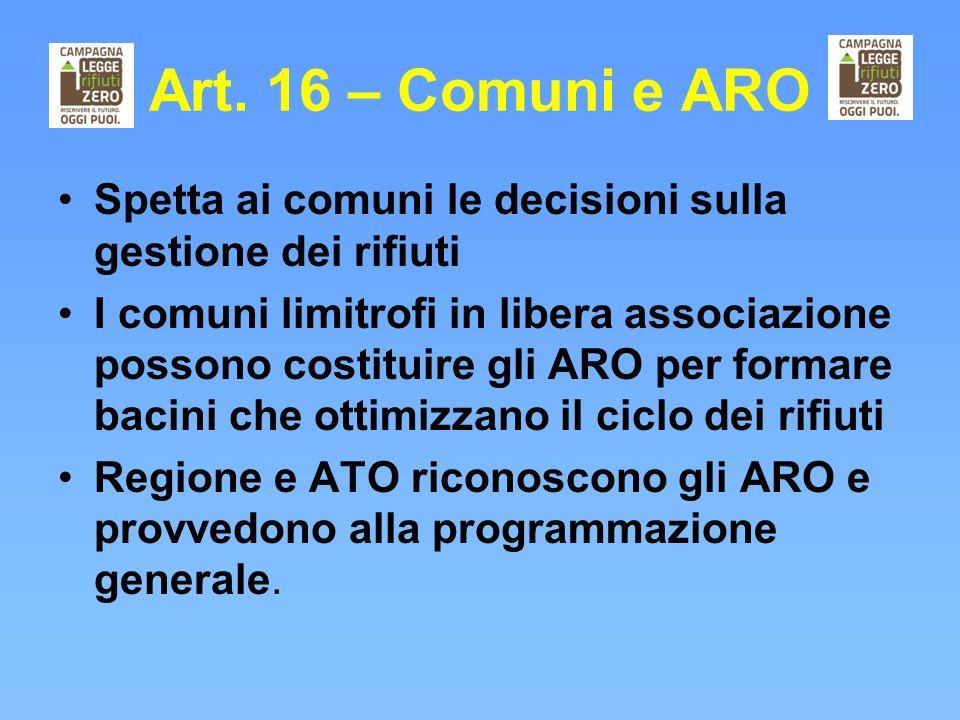 Art. 16 – Comuni e ARO Spetta ai comuni le decisioni sulla gestione dei rifiuti I comuni limitrofi in libera associazione possono costituire gli ARO p