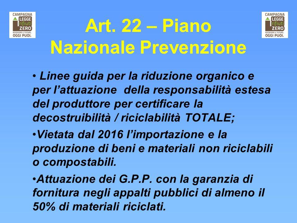 Art. 22 – Piano Nazionale Prevenzione Linee guida per la riduzione organico e per lattuazione della responsabilità estesa del produttore per certifica