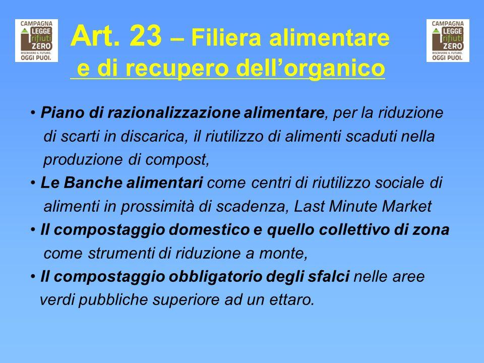 Art. 23 – Filiera alimentare e di recupero dellorganico Piano di razionalizzazione alimentare, per la riduzione di scarti in discarica, il riutilizzo
